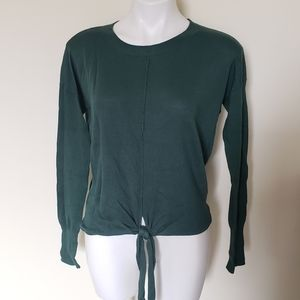 Alya Green Sweater Size M with Tie Front